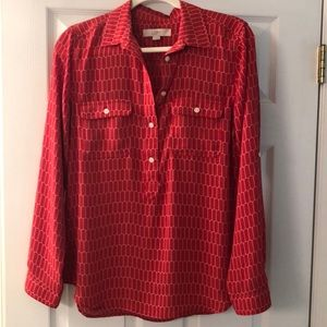 Ann Taylor LOFT red and white graphic blouse